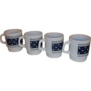 Fire King Stacking Mugs Blue Lace Polka Dot-Set of 4