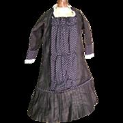 Pretty vintage black doll dress French pattern very elegant