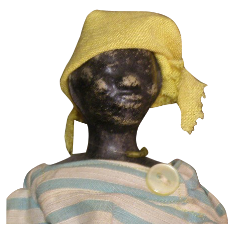 Primitive Wax head black doll