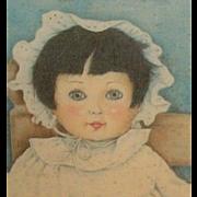 Vintage doll print on wood