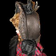 Beautiful antique dolls straw hat.