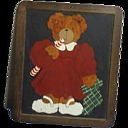 Adorable Teddy bear painted on blackboard
