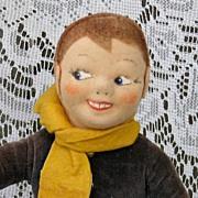 Rare Danish Cloth Doll - Boy Skier Wellings-type