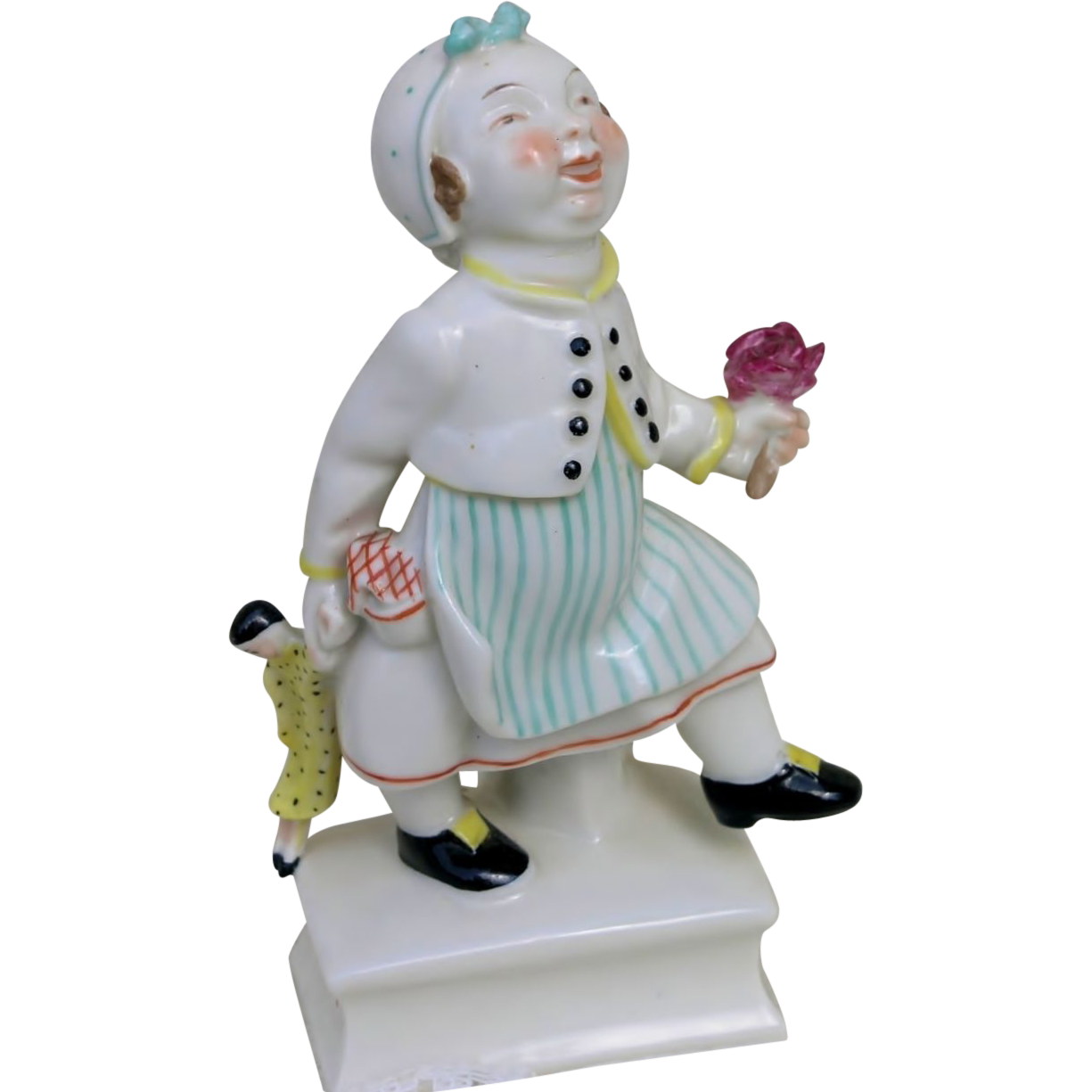 German Porcelain Figurine of Little girl with her doll by Sonnleitner and Schwarzburger