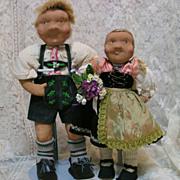 Pair of German Vintage Cloth Dolls by Rauch