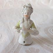 Tiny German Glazed Porcelain China Half Doll Holding a Fan