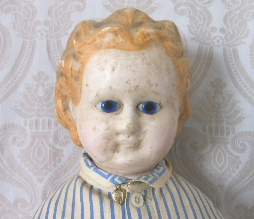 Antique Wax over Composition German Doll with Cloth and Wooden Body