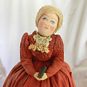 Oil Painted Cloth Doll on Skirted Base