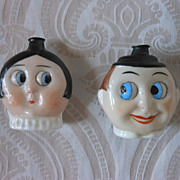 SALE Pair of German Googly Eye Perfume Flasks by Hertwig
