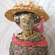 Intriguing German Papier Mache Doll in Old Wooden Box