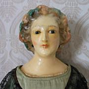 Fabulous Unique Antique Wax Shoulder Head Lady Doll