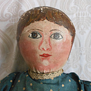 Early Folk Art Oil Painted Cloth Doll
