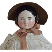 Covered Wagon Glazed Porcelain German China Head Doll by Kister