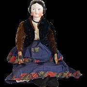 Antique German Kestner Glazed Porcelain Covered Wagon China Head Doll in Wonderful Costume