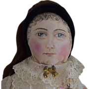 Antique Cloth Doll with Oil Painted Face and Human Hair Wig