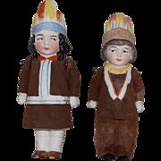 German All Bisque Native American Children Doll Pair