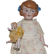 German All Bisque Girl with Her Own All Bisque Doll