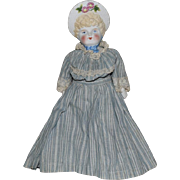 German Bisque Head Bonnet Doll by Hertwig