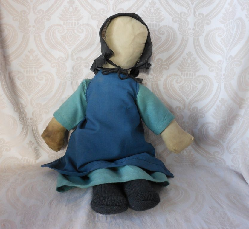 Amish Type Cloth Doll in Green Dress with Blue Apron