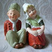 Cute Little German Bisque Gebruder Heubach Character Dutch Figurines