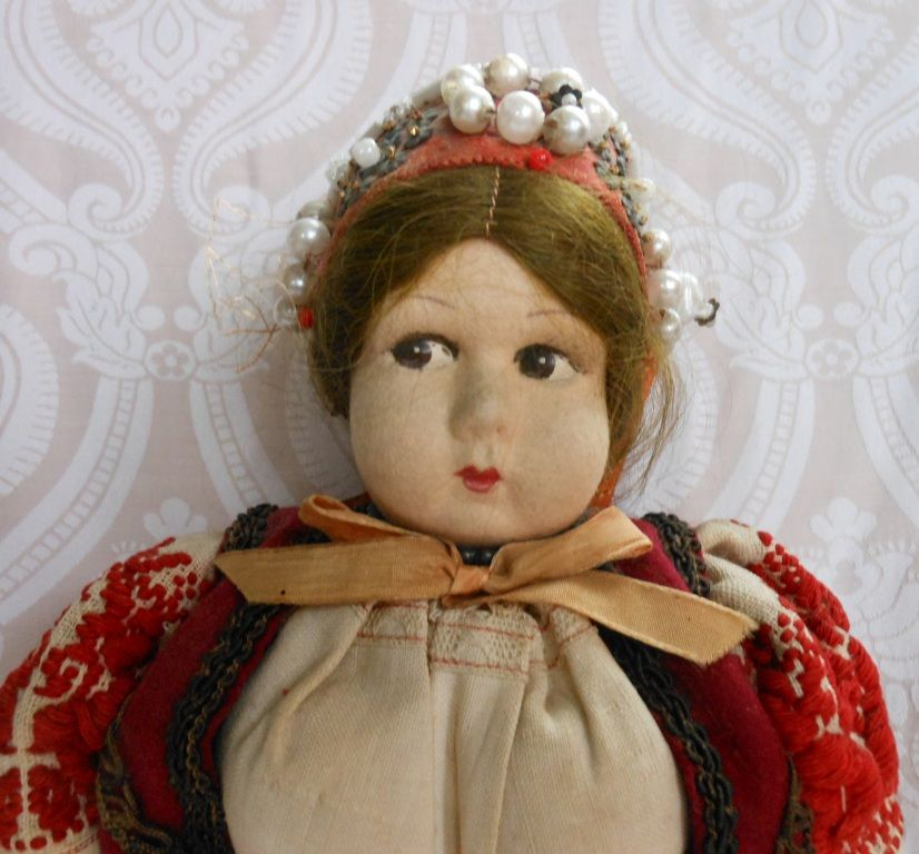 Felt Face Cloth Doll with Fabulous All Original Ethnic Costume