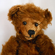 "SALE PENDING ""Miss Ewing"" A Vintage Brown Mohair Teddy Bear"