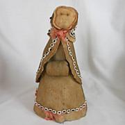 All Original Folk Art Antique Cotton Batting Doll