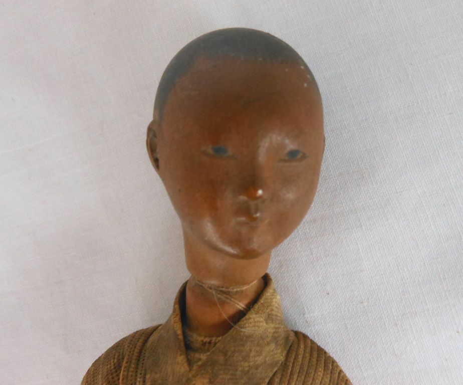 Antique Carved Wooden Chinese Boy Doll