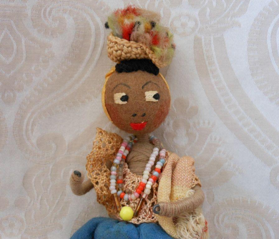 Brown Felt Vintage Miniature Doll