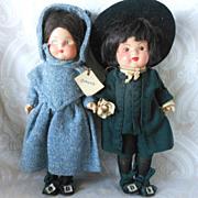 All Original Pennsylvania Dutch Composition Doll Pair by Marie Polack in Box