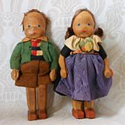 Vintage Carved Wooden Children
