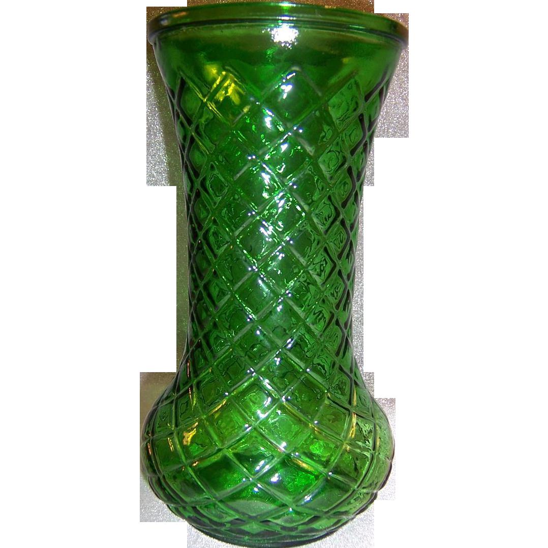 Vintage Emerald Green Hoosier Glass Vase Diamond Cut