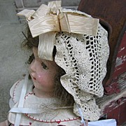 Crocheted Edwardian Era Doll Bonnet for Antique Doll