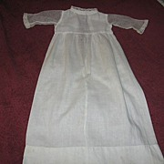 Antique Doll Gown with Sheer Lace Net Sleeves for Baby Doll