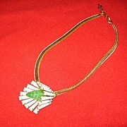 Vintage Schreiner New York Necklace Keystone and Art Glass Flower