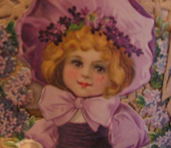 Large Die Cut Valentine Lovely Child in Lavender