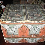 Antique Wallpaper Covered Wooden Box with Lid Lancaster Pa News