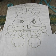 Embroidered Bunny High Chair Pad Old Quilted Piece Just Adorable!