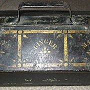 Antique Tin Tole Painted Spice Box