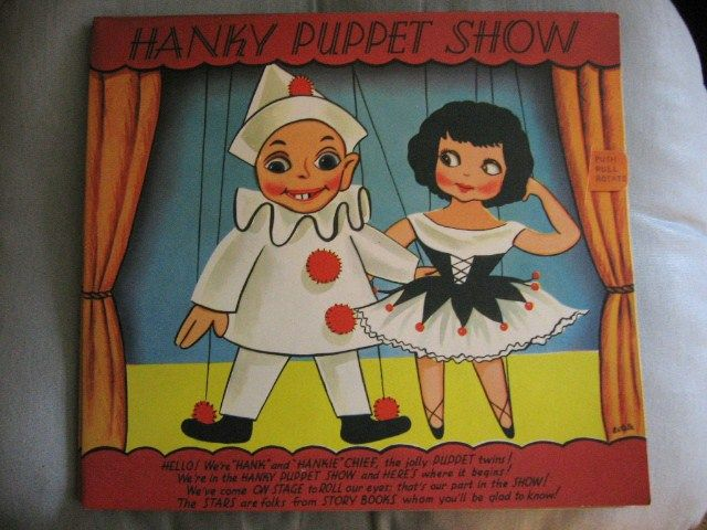 Hanky Hankie Puppet Show Vintage Large Greeting Card NOS