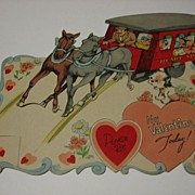 Large Mechanical Vintage Valentine Horse Pulling Trolley or Stagecoach