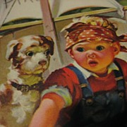 Vintage Hankie Holder Card with Adorable Toddler and Pup in Tub