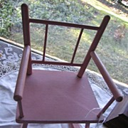 Vintage Pink Wooden Rocking Chair for Dolls and Bears
