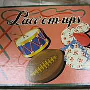 NOS Vintage Childs Toy in Original Box Excellent Condition Lace Em Up