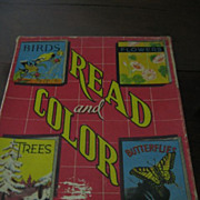 Childrens Books 1940s Read and Color Books in Original Box Saalfield Pub Co