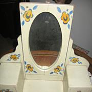 Vintage Toy Dressing Table with Mirror German Made Dresser Bureau