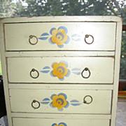 Vintage Wooden Doll Dresser with Floral Decorations