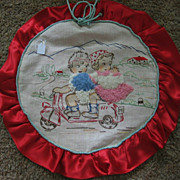 Embroidered Pillow Cover Kids on Motor Scooter