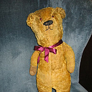 Antique Mohair Teddy Bear Formerly Early 1900s Electric Eye Bear