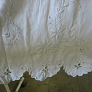 Antique White on White Skirt Fabric with Fancywork
